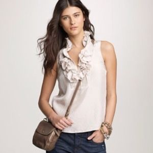 J. Crew Ivory Silk Ruffle Francis  Came 8